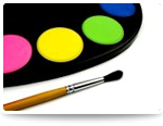 Art pallet and painters brush