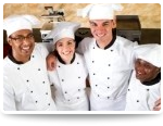 smiling chefs in a row